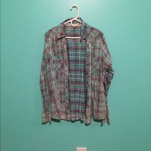 Blue and purple plaid top